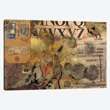 Luggage Label Canvas Print #NBK35} by Nick Bantock Canvas Wall Art