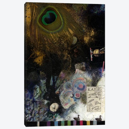 Peacock Feather Canvas Print #NBK48} by Nick Bantock Canvas Art