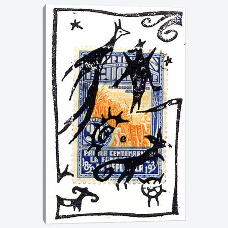 Pelicos Stamp Canvas Print #NBK49} by Nick Bantock Canvas Artwork