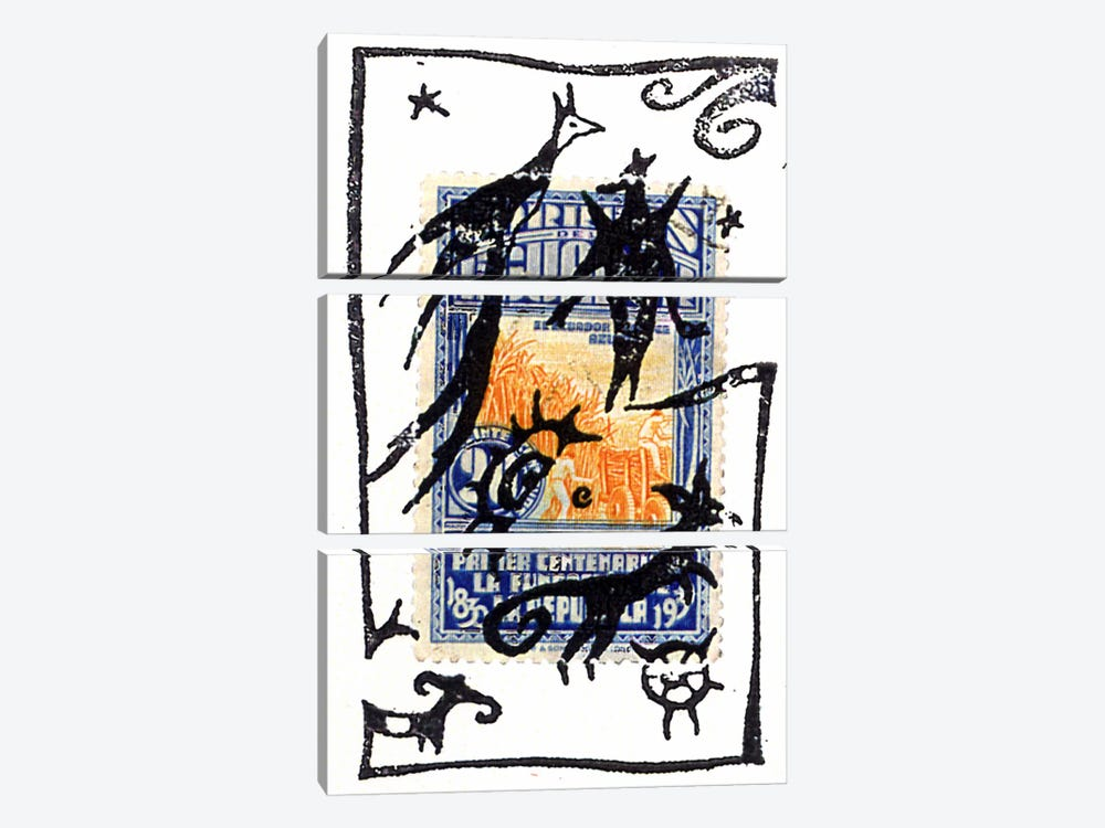 Pelicos Stamp by Nick Bantock 3-piece Canvas Print