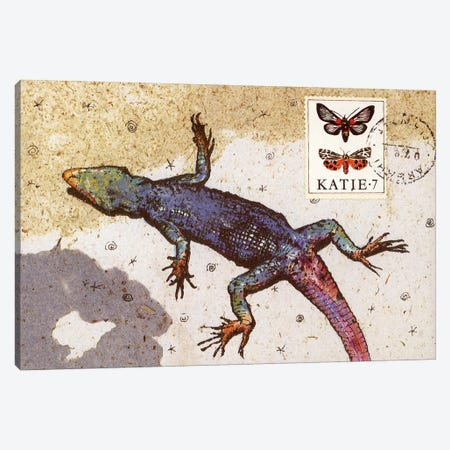 Rainbow Lizard Canvas Print #NBK54} by Nick Bantock Canvas Wall Art