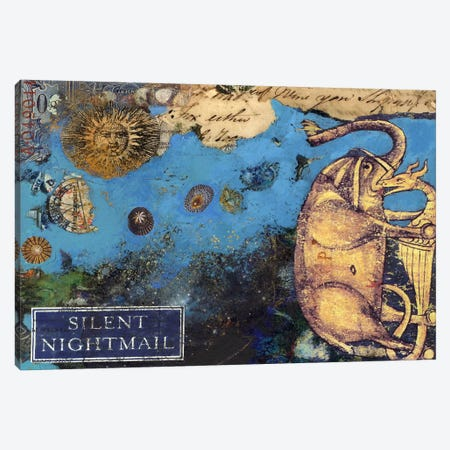 Silent Nightmail Canvas Print #NBK56} by Nick Bantock Canvas Art