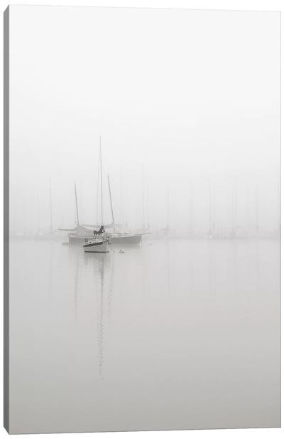 Sailboats In Fog Canvas Art Print