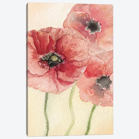 Poppy Composition I Canvas Print #NCH5} by Natasha Chabot Canvas Artwork