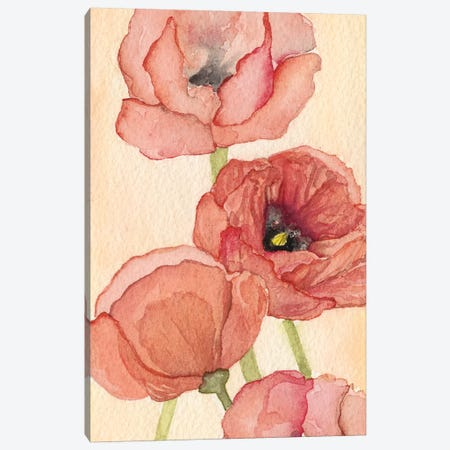 Poppy Composition II 3-Piece Canvas #NCH6} by Natasha Chabot Canvas Wall Art