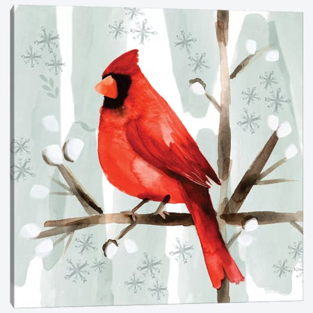 Christmas Hinterland I - Cardinal Canvas Print #NDD111} by Noonday Design Canvas Wall Art
