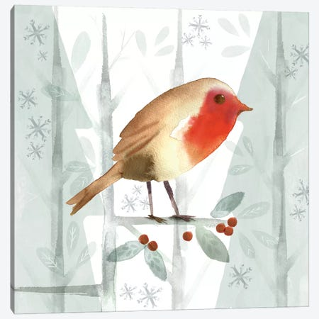 Christmas Hinterland III - Robin Canvas Print #NDD113} by Noonday Design Canvas Wall Art