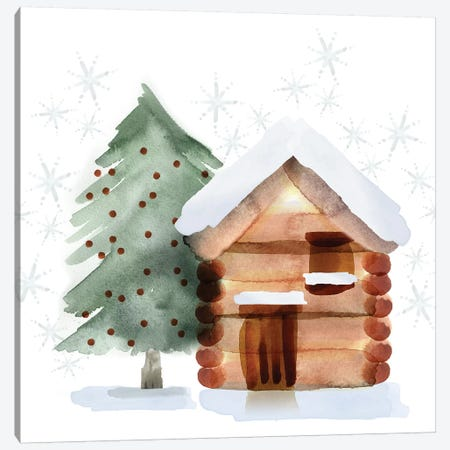 Christmas Hinterland IV - Tree & Cabin Canvas Print #NDD114} by Noonday Design Canvas Print