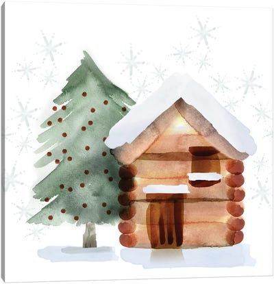 Christmas Hinterland IV - Tree & Cabin Canvas Art Print
