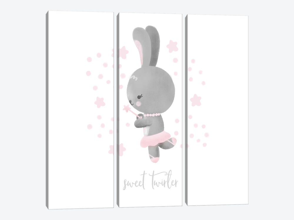 Ballerina Bunny II by Noonday Design 3-piece Canvas Wall Art