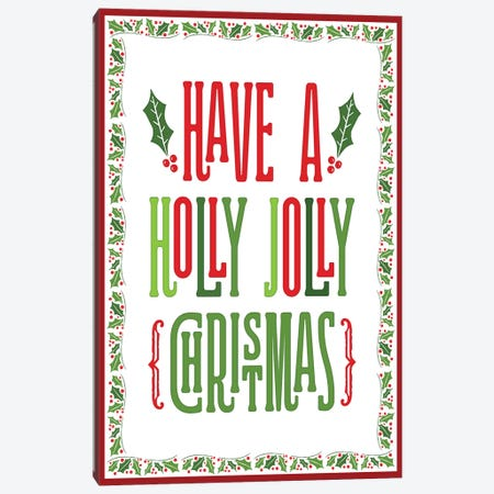 Colorful Christmas with border I Canvas Print #NDD120} by Noonday Design Canvas Print