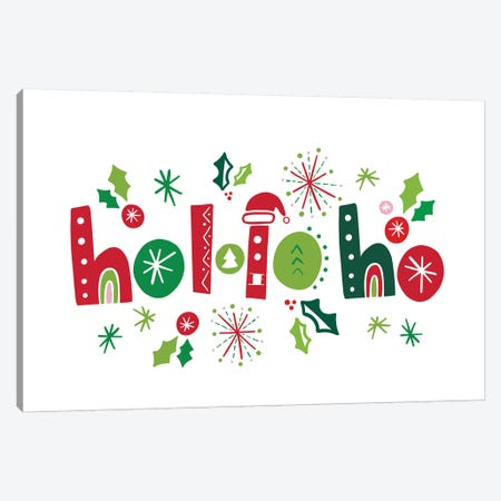 Festive Lettering - Ho Ho Ho Canvas Print #NDD124} by Noonday Designs Canvas Wall Art