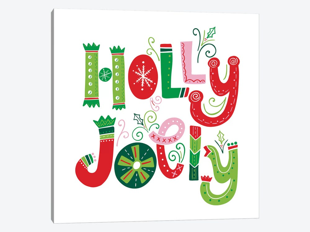 Festive Lettering - Holly Jolly by Noonday Design 1-piece Canvas Art