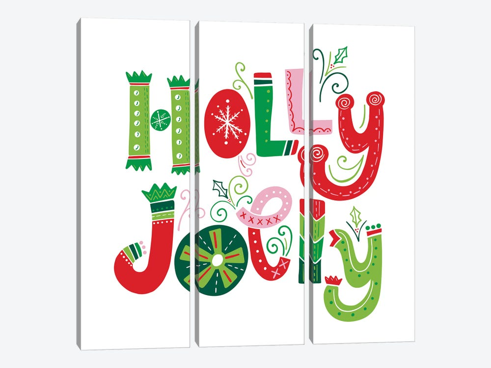 Festive Lettering - Holly Jolly by Noonday Design 3-piece Canvas Wall Art