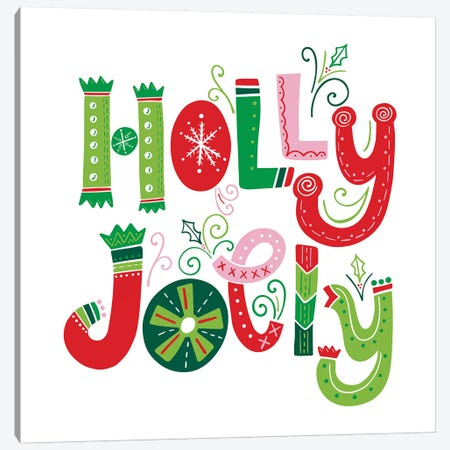 Festive Lettering - Holly Jolly Canvas Print #NDD125} by Noonday Design Canvas Art