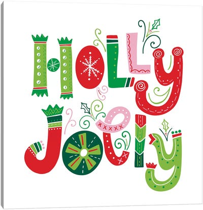 Festive Lettering - Holly Jolly Canvas Art Print