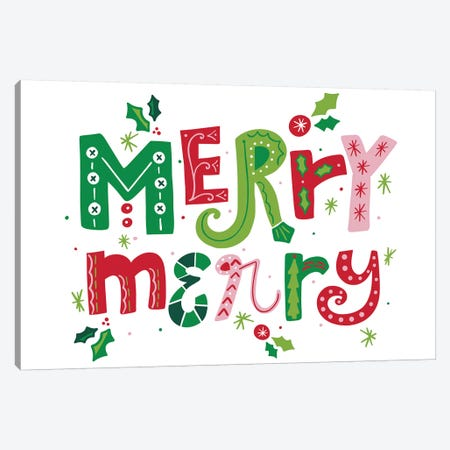 Festive Lettering - Merry Merry Canvas Print #NDD126} by Noonday Designs Canvas Wall Art