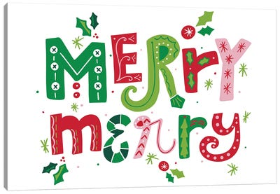 Festive Lettering - Merry Merry Canvas Art Print