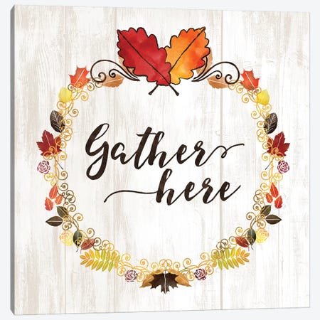 Pumpkin Spice Gather Here Canvas Print #NDD135} by Noonday Design Art Print