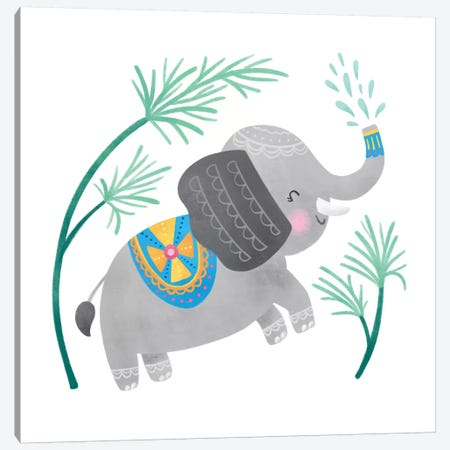 Playful Pals -Elephant Canvas Print #NDD144} by Noonday Design Canvas Artwork