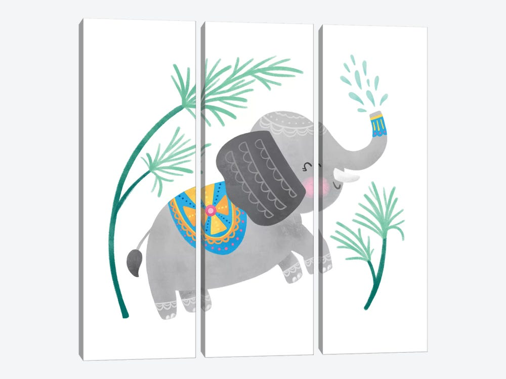 Playful Pals -Elephant 3-piece Art Print