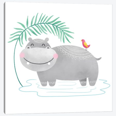 Playful Pals- Hippo Canvas Print #NDD145} by Noonday Design Canvas Art
