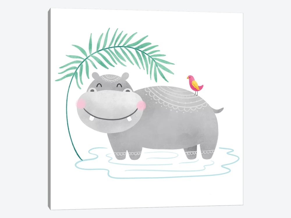 Playful Pals- Hippo by Noonday Design 1-piece Canvas Artwork