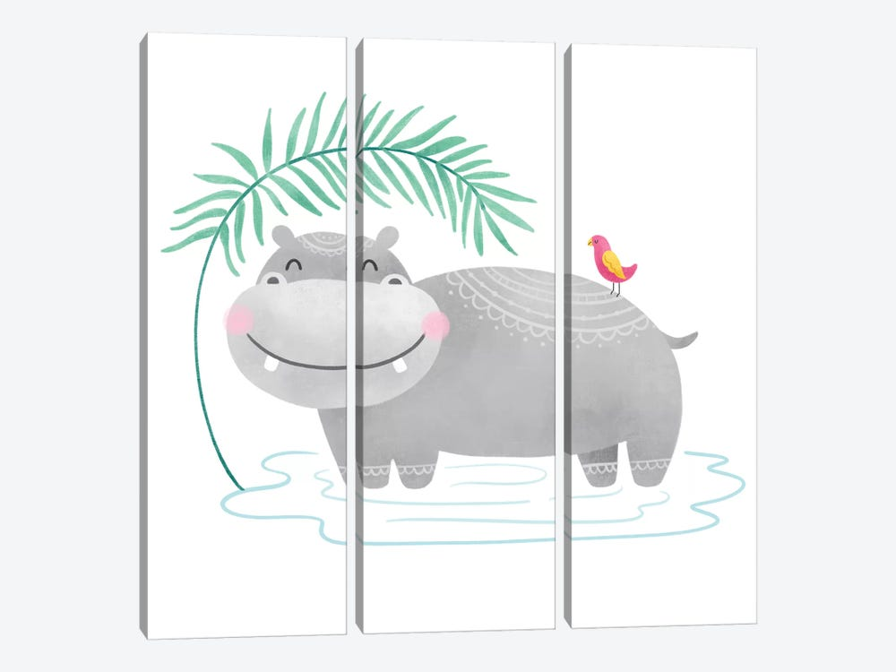 Playful Pals- Hippo by Noonday Design 3-piece Canvas Artwork