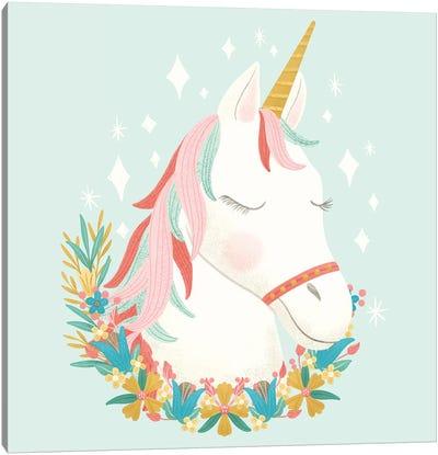 Unicorns and Flowers I Canvas Art Print