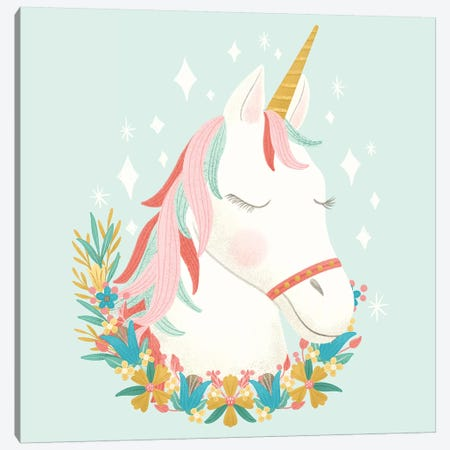 Unicorns and Flowers I Canvas Print #NDD154} by Noonday Design Canvas Print