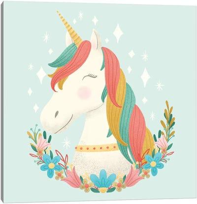 Unicorns and Flowers II Canvas Art Print
