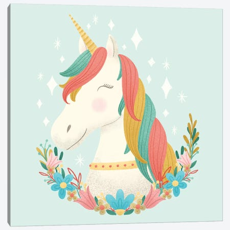 Unicorns and Flowers II Canvas Print #NDD155} by Noonday Design Canvas Art Print