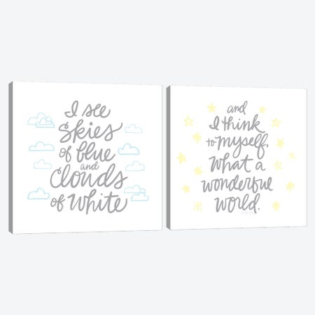 Wonderful World Diptych Canvas Print Set #NDD2HSET002} by Noonday Design Art Print