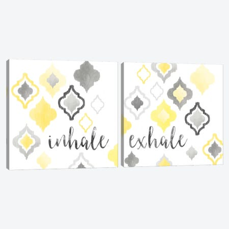 Yellow Gray Moroccan Sentiment Diptych Canvas Print Set #NDD2HSET003} by Noonday Design Canvas Print