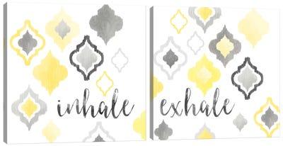 Yellow Gray Moroccan Sentiment Diptych Canvas Art Print
