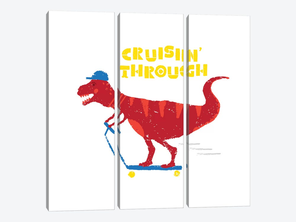Dinos On The Move IV by Noonday Design 3-piece Canvas Print