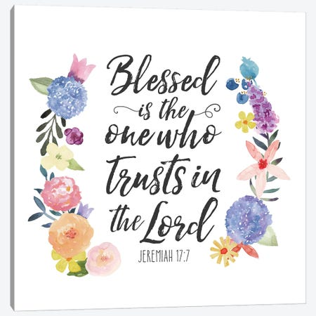 Floral Bible Verse I Canvas Print #NDD33} by Noonday Designs Canvas Artwork