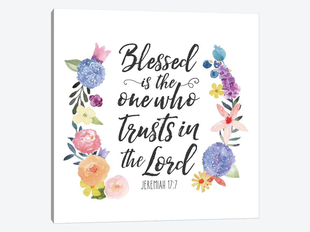 Floral Bible Verse I by Noonday Design 1-piece Canvas Artwork