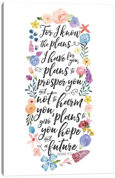 Floral Bible Verse Panel I Canvas Art Print