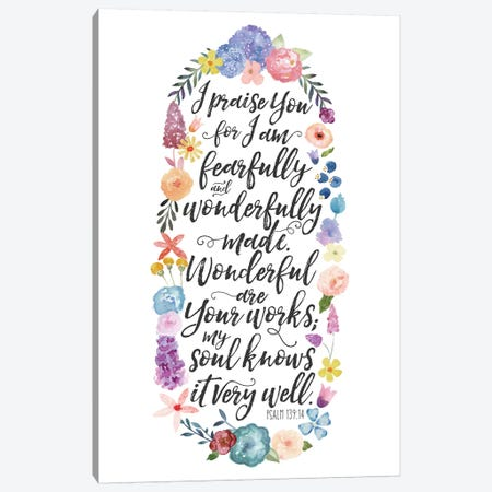 Floral Bible Verse Panel II Canvas Print #NDD36} by Noonday Design Canvas Print