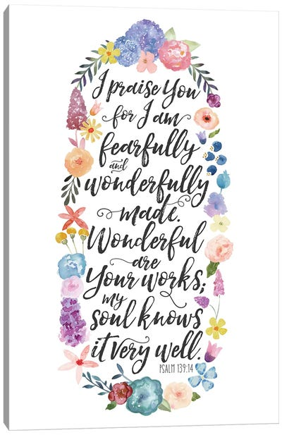 Floral Bible Verse Panel II Canvas Art Print