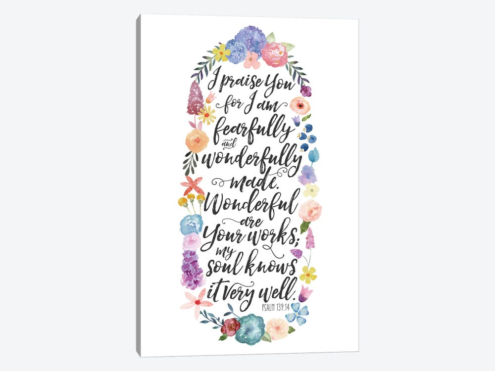 Floral Bible Verse Panel II by Noonday Design 1-piece Canvas Art Print