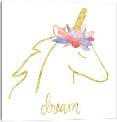 Golden Unicorn I Dream Canvas Art Print