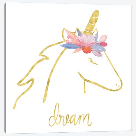 Golden Unicorn I Dream Canvas Print #NDD43} by Noonday Design Canvas Print