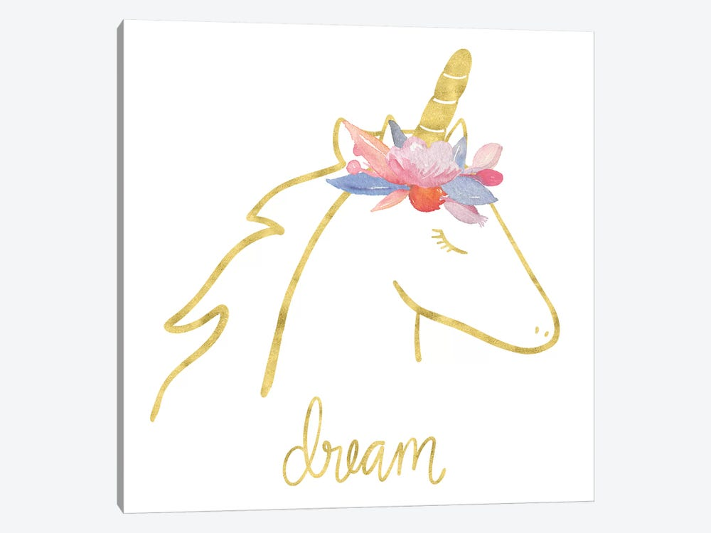Golden Unicorn I Dream by Noonday Design 1-piece Art Print