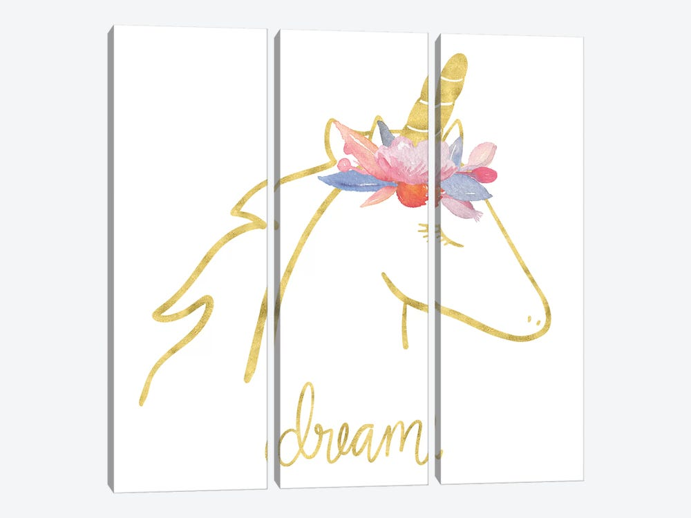Golden Unicorn I Dream by Noonday Design 3-piece Canvas Print