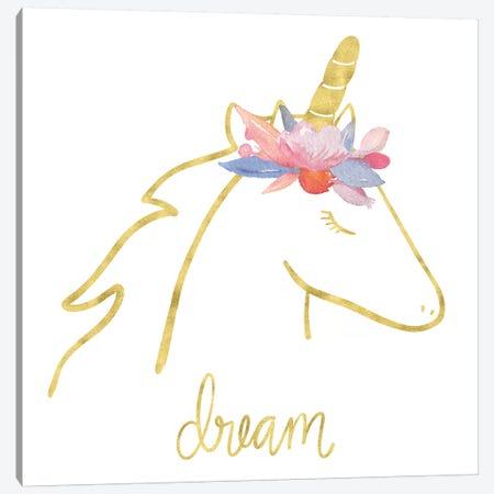 Golden Unicorn I Dream Canvas Print #NDD43} by Noonday Design Canvas Print