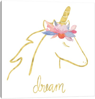 Golden Unicorn I Dream Canvas Art Print