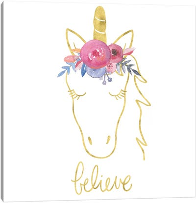 Golden Unicorn II Believe Canvas Art Print