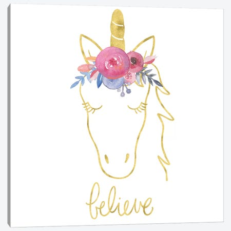 Golden Unicorn II Believe Canvas Print #NDD44} by Noonday Design Canvas Art